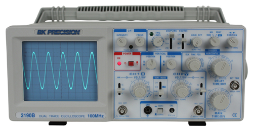 Discontinued Model 2190B, 100 MHz Dual Trace Analog Oscilloscope
